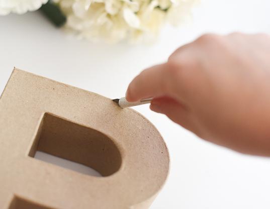 DIY Floral Letter Step 1